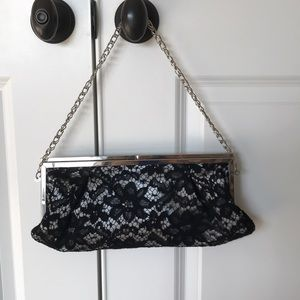 WHBM Black Lace with Silver Clutch